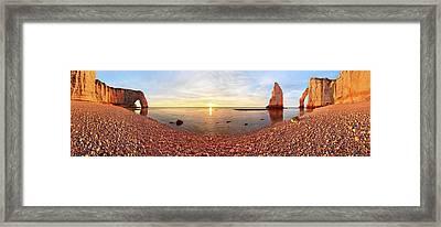 Sunset In A?tretat Framed Print