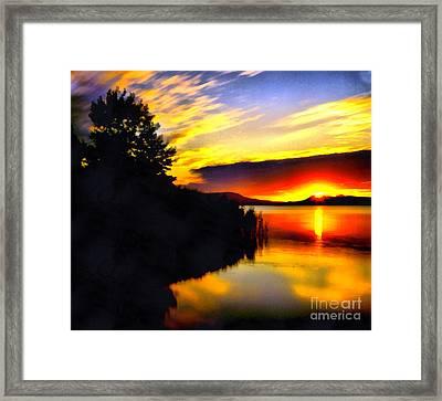 Sunset In Balaton Lake Framed Print by Odon Czintos