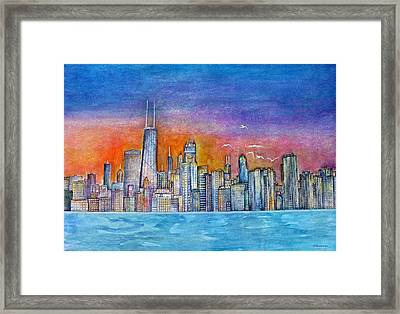 Sunset In Chi Town Framed Print by Janet Immordino