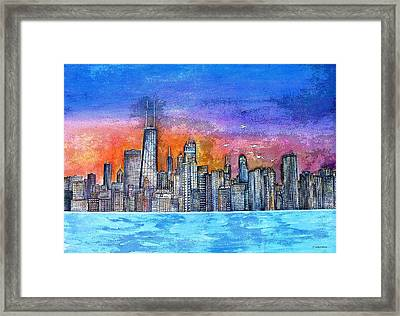 Sunset In Chicago Framed Print