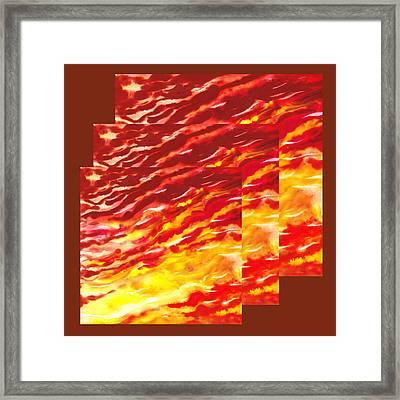 Sunset In Desert Abstract Collage  Framed Print by Irina Sztukowski