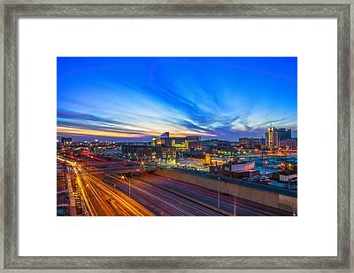 Sunset In Detroit Framed Print by Nicholas  Grunas