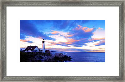 Sunset In Fork Williams Lighthouse Park Portland Maine State Framed Print by Paul Ge