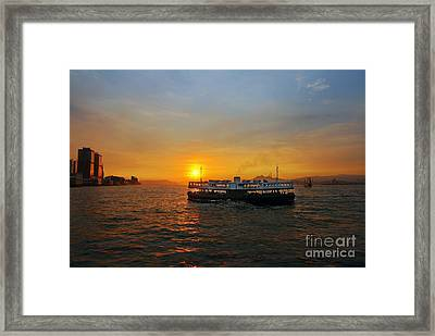 Sunset In Hong Kong With Star Ferry Framed Print