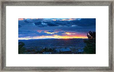 Sunset In Ithaca New York Panoramic Photography Framed Print by Paul Ge