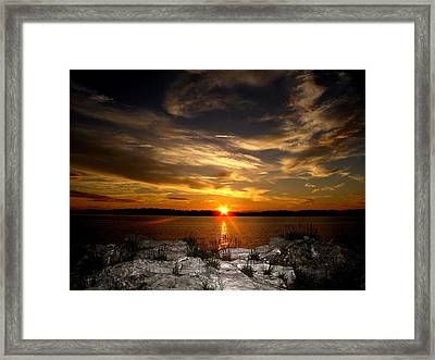 Sunset In Maine Framed Print by Donnie Freeman