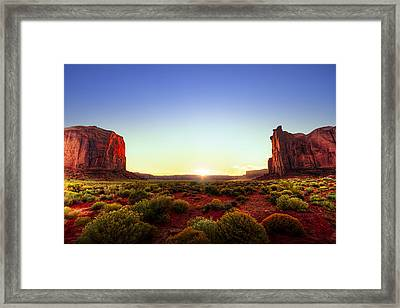 Sunset In Monument Valley Framed Print by Alexey Stiop