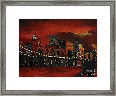 Sunset In New York Framed Print by Denisa Laura Doltu