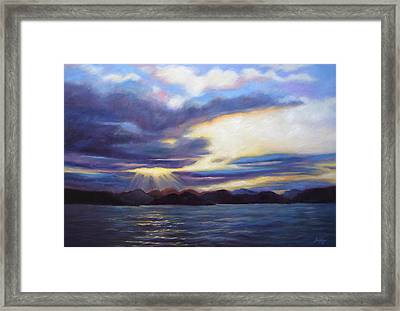 Framed Print featuring the painting Sunset In Norway by Janet King