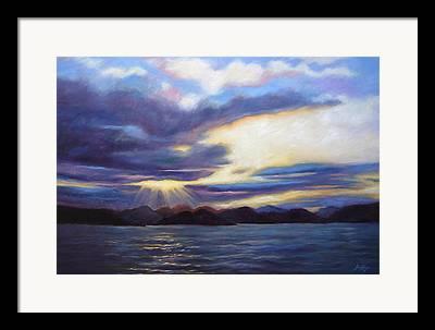 Reflection Of Sun Creates Amazing Sunset Framed Prints