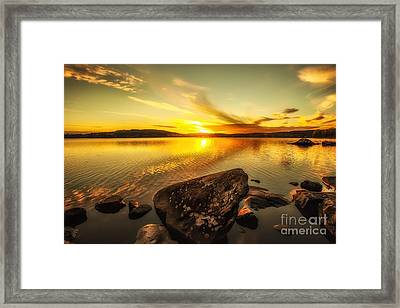 Framed Print featuring the photograph Sunset In Our Little Village  by Rose-Maries Pictures