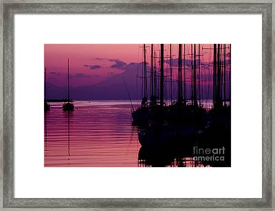 Sunset In Pink And Purple With Yachts At Bay Framed Print