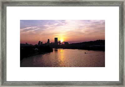 Sunset In Pittsburgh Framed Print by Joyce  Wasser