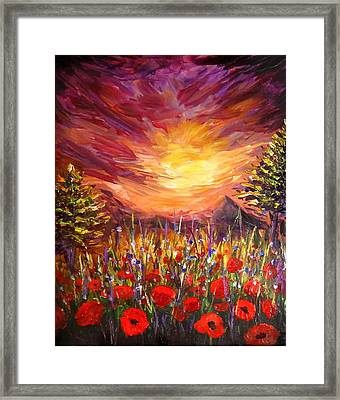Sunset In Poppy Valley  Framed Print by Lilia D