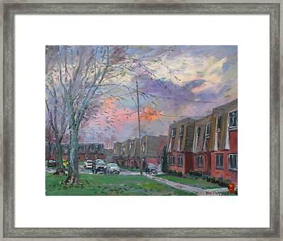 Sunset In Royal Park Apartments Framed Print by Ylli Haruni