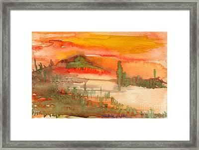 Framed Print featuring the painting Sunset In Saguaro Desert  by Mukta Gupta