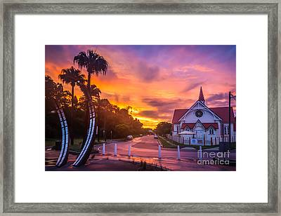 Framed Print featuring the photograph Sunset In Sandgate by Peta Thames