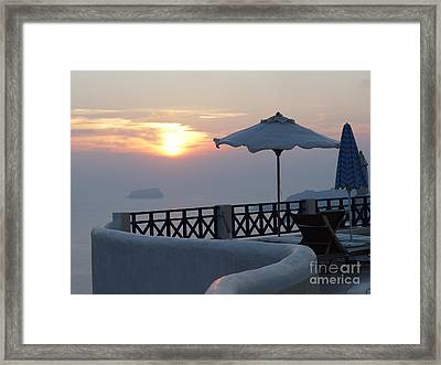 Sunset In Santorini Framed Print by Nancy Bradley