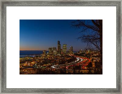 Sunset In Seattle Framed Print