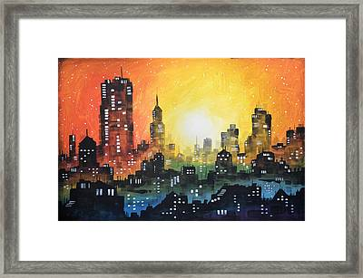Framed Print featuring the painting Sunset In The City by Amy Giacomelli