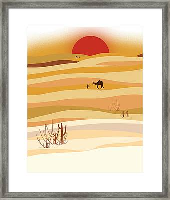 Sunset In The Desert Framed Print by Neelanjana  Bandyopadhyay