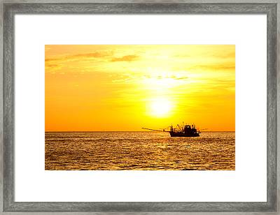 Sunset In The Gulf Of Thailand Framed Print