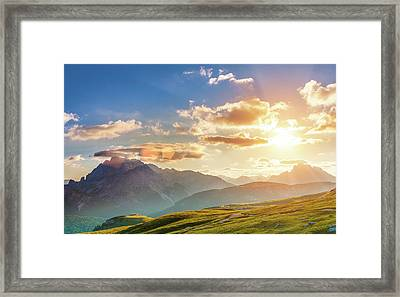 Sunset In The Mountains Framed Print by Peter Zelei Images