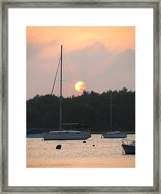 Sunset In The Port Framed Print by Eva Csilla Horvath