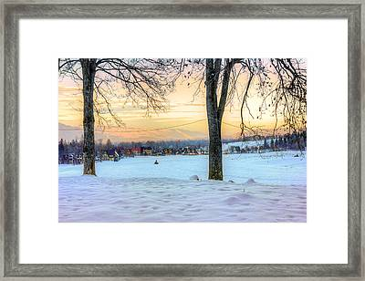 Sunset In The Snow Framed Print by Pati Photography