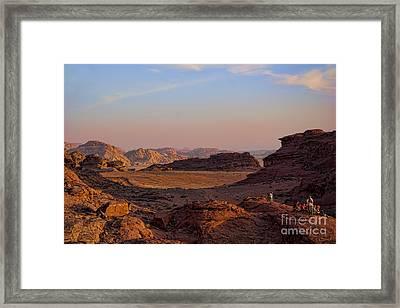 Sunset In The Wadi Rum Desert Jordan Framed Print