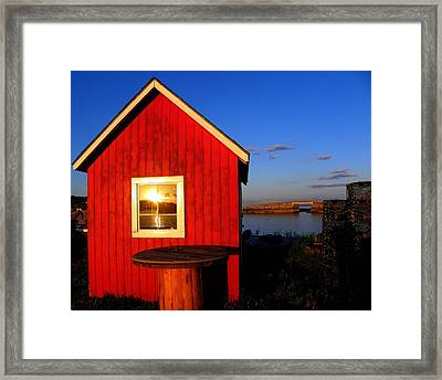 Sunset In The Window Framed Print by Kerry Coffin