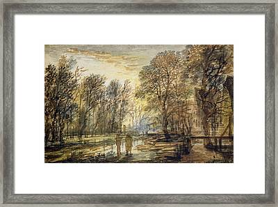 Sunset In The Wood Framed Print by Aert van der Neer