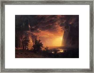 Sunset In The Yosemite Valley Framed Print by Albert Bierstadt