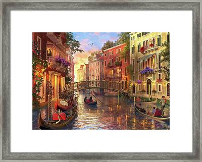 Sunset In Venice Framed Print by Dominic Davison