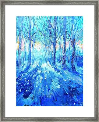Sunset In A Winter Wood  Framed Print by Trudi Doyle