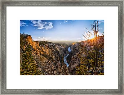 Sunset In Yellowstone Grand Canyon Framed Print