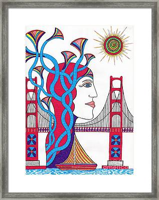 Sunset Lady At G. G. Bridge Framed Print by Michael Friend