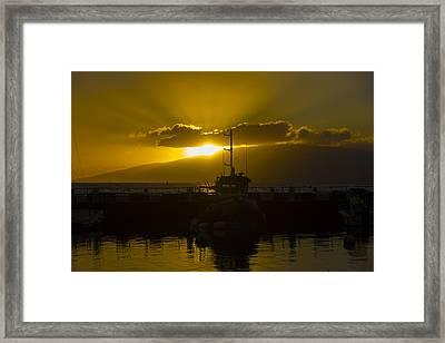 Sunset Lahaina Marina Framed Print by Norman Blume