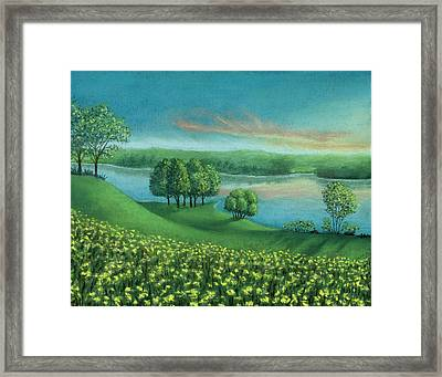 Sunset Lake A Framed Print