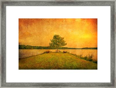 Sunset Lake And Benches Framed Print