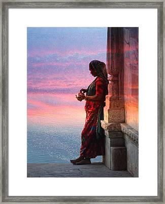 Sunset Lake Colorful Woman Rajasthani Udaipur India Framed Print