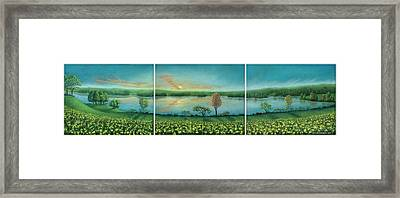 Sunset Lake Triptych Framed Print