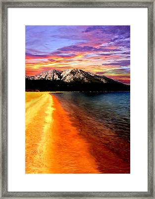 Sunset Lake Tahoe Painting Framed Print by Bob and Nadine Johnston