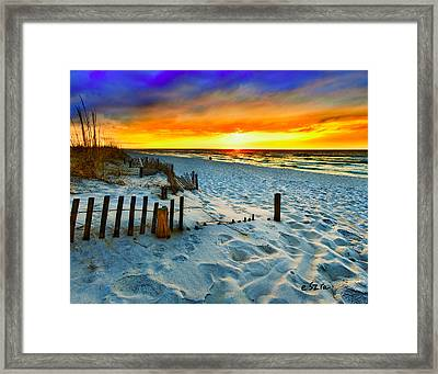 Sunset Landscape-red Beach Sunset Framed Print