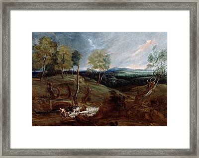 Sunset Landscape With A Shepherd And His Flock Framed Print