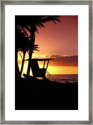Sunset Lifeguard Station Framed Print by Sean Davey