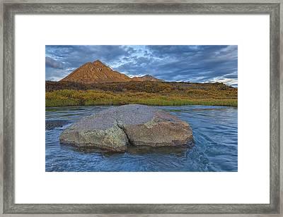 Sunset Light Hitting Angelcomb Peak And Framed Print