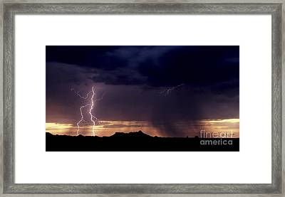 Framed Print featuring the photograph Sunset Lightning-signed by J L Woody Wooden