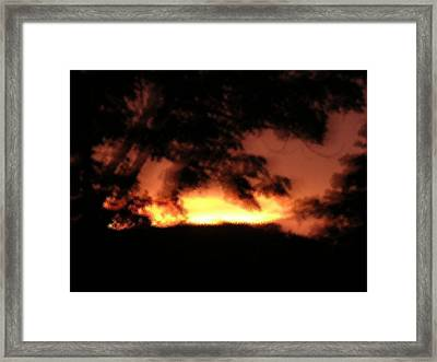 Sunset Liquid Splash Framed Print by Dusty Reed