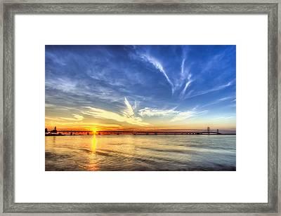 Sunset Mackinac Bridge Framed Print